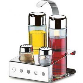 Porta Condimentos Galheteiro 5 Peças Em Vidro e Aço Inox Brinox Parma 1560/101