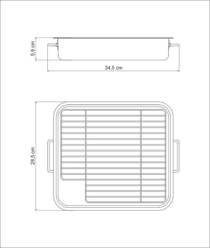 Assadeira em Aço Inox Com Grelha e Alças Tramontina Service 34,5 x 28,5 x 6 cm 61409/340