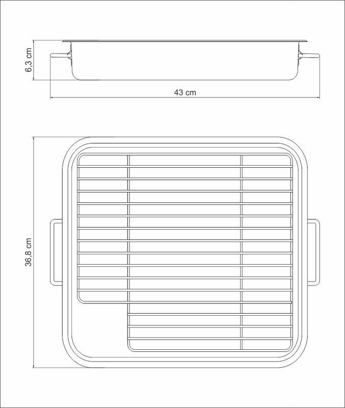 Assadeira em Aço Inox Com Grelha e Alças Tramontina Service 43 x 36,8 x 4,3 cm 61409/420
