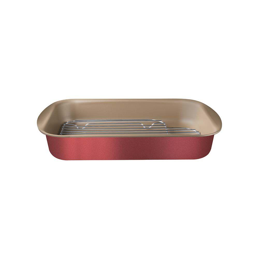 Assadeira Funda Antiaderente em Aluminio com Grelha Tramontina Brasil 34 CM Vermelha 20048/734