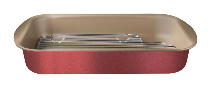 Assadeira Funda Antiaderente em Alumínio Com Grelha Tramontina Brasil 40 cm Vermelha 20048/740