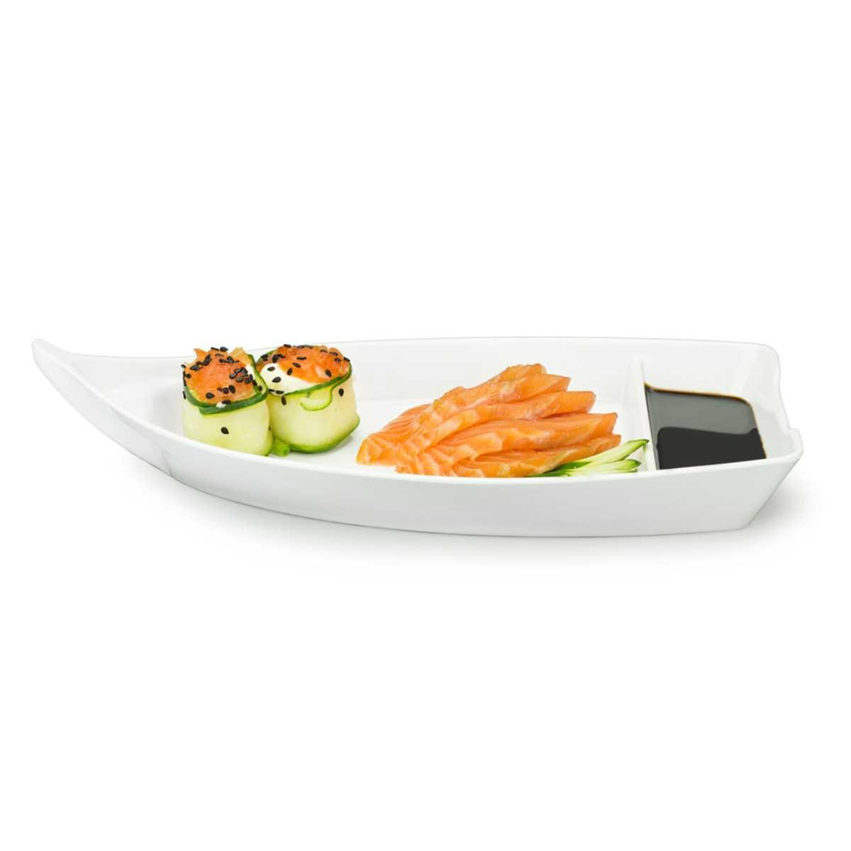 Barco Japônes Para Sushi Sashimi 26 X 12 cm Branco Em Melamina Gourmet Mix GX5424