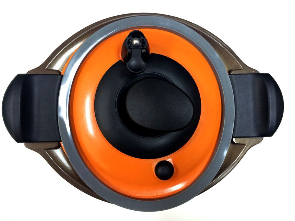 Caçarola a Vácuo (Semi-Pressão) Revestimento Cerâmico Roichen Natural Premium Vacuum 24 cm 6,50 Litros Laranja RVPC-24HC/O