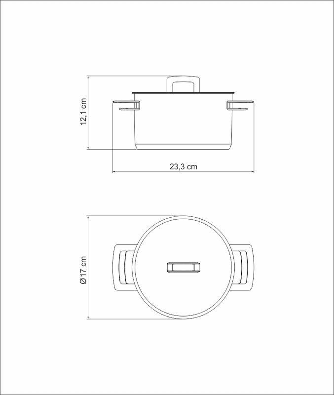 Caçarola Funda em Aço Inox Fundo Triplo Com Tampa Tramontina Brava 16 cm 1,8 Litros 62404/160