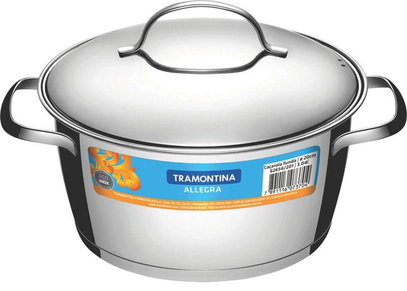 Caçarola Funda em Aço Inox Fundo Triplo Com Tampa Tramontina Allegra 16 cm 1,5 Litros 62654/161