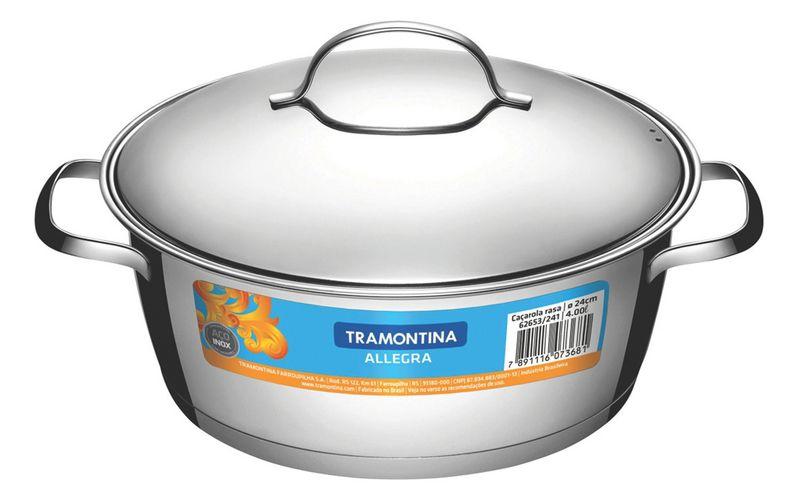 Caçarola Rasa em Aço Inox Fundo Triplo Com Tampa Tramontina Allegra 24 cm 4,2 Litros 62653/241