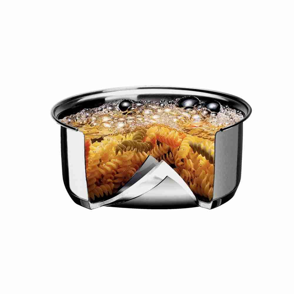 Caçarola Rasa em Aço Inox Fundo Triplo Com Tampa Tramontina Solar 24 cm 4,70 Litros 62503/241
