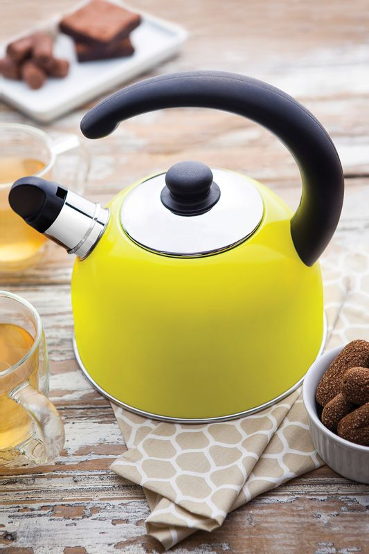Chaleira Amarela em ACO INOX com Apito Tramontina Coffee e Tea 2,10 Litros 61483/080