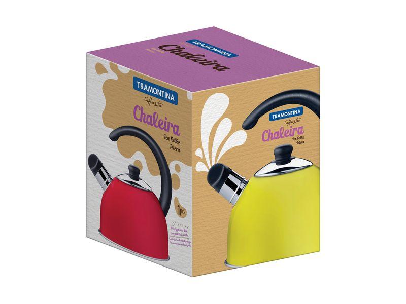 Chaleira Amarela em Aço Inox Com Apito Tramontina Coffee e Tea 2,10 Litros 61483/080