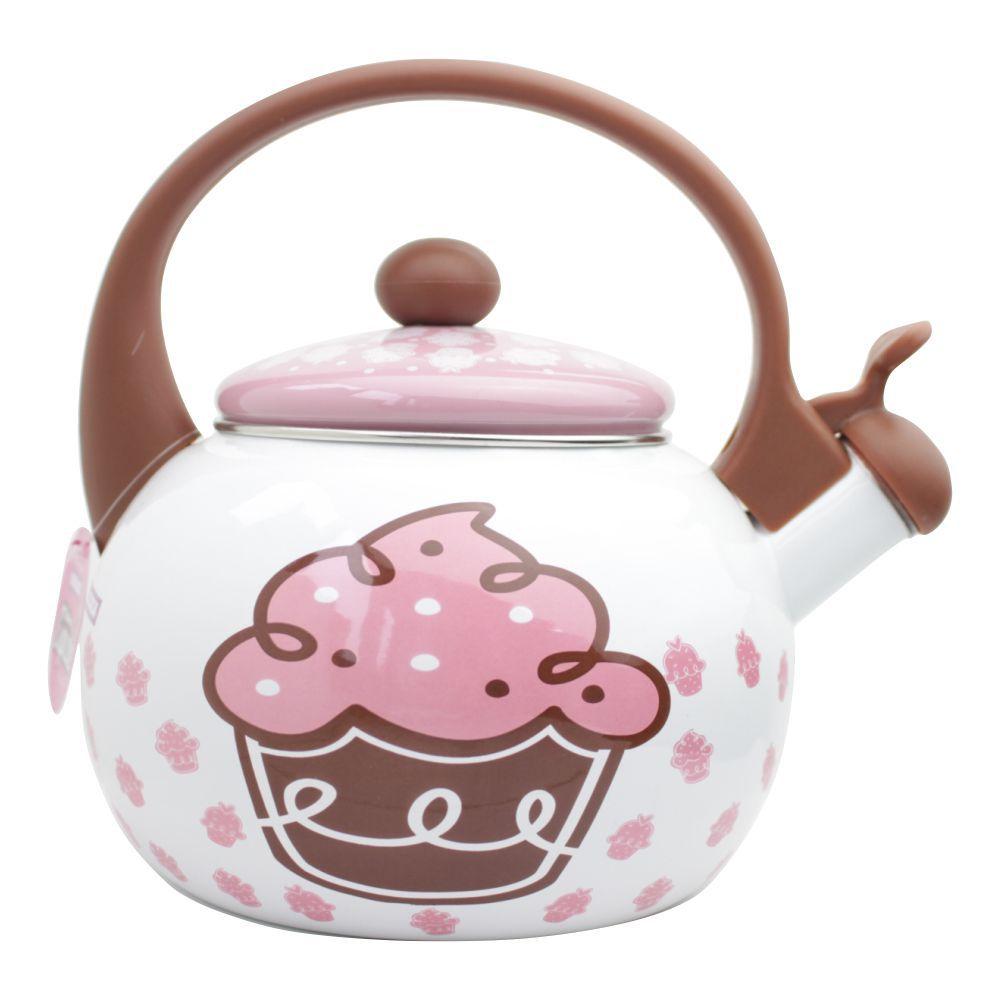 Chaleira Cupcake Decor e Casa em Aço Esmaltado Com Apito 2,20 Litros