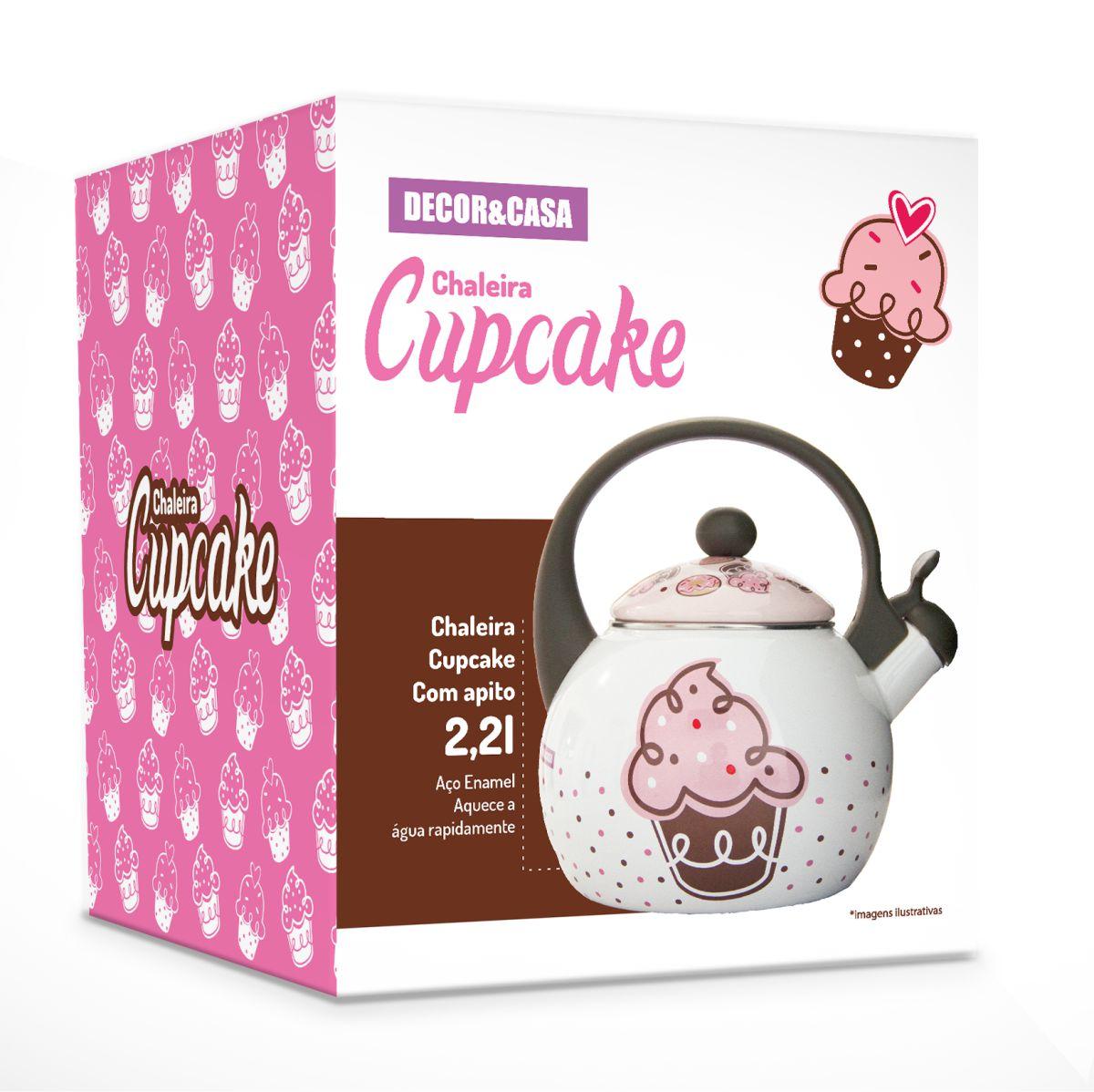 Chaleira Cupcake Decor e Casa em Aço Esmaltado Com Apito 2,20 Litros - Outlet
