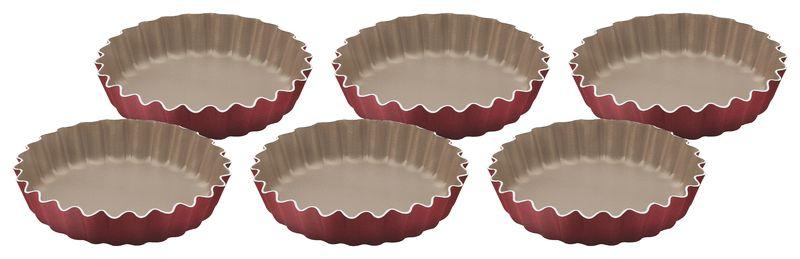 Conjunto de Formas Para Tortinhas 6 Peças Alumínio Antiaderente Tramontina Brasil 10 cm Cada Vermelha 20099/775