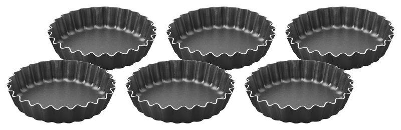 Conjunto de Formas para Tortinhas 6 Pecas Aluminio Antiaderente Tramontina Brasil 10 CM Cada Grafite 2009075