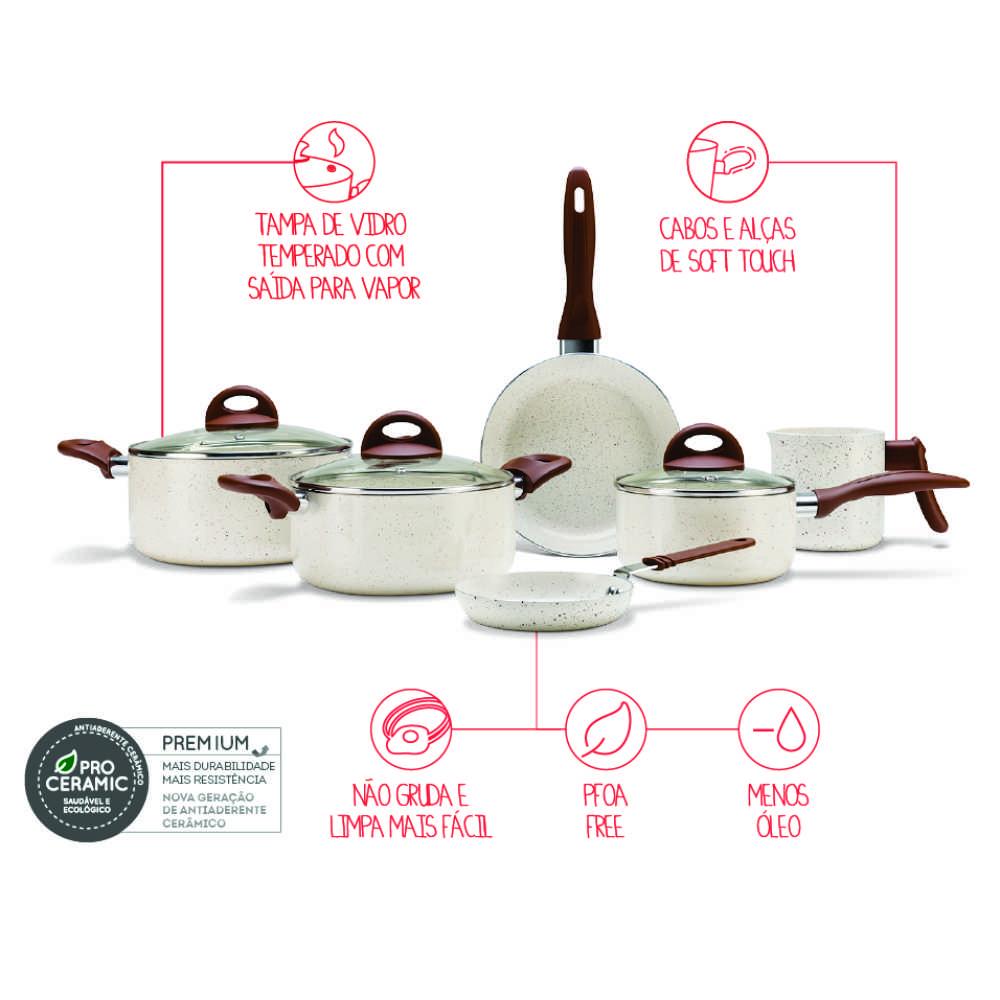 Conjunto de Panelas Antiaderente Cerâmico 6 Peças Brinox Ceramic Life Smart Plus Vanilla 4791/102