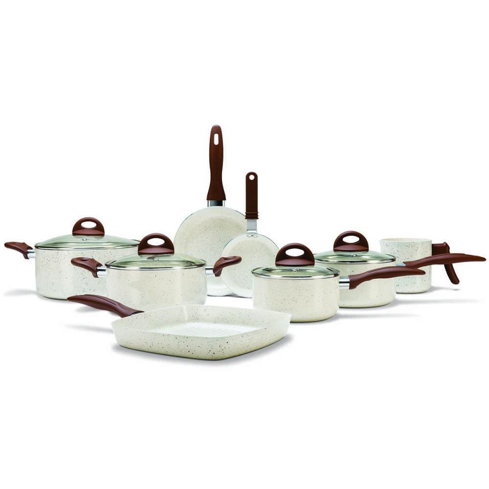 Conjunto de Panelas Antiaderente Cerâmico 8 Peças Brinox Ceramic Life Smart Plus Vanilla 4791/105
