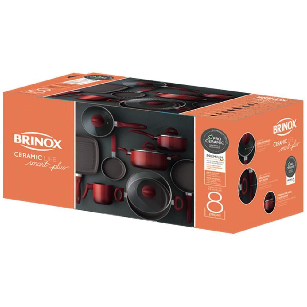 Conjunto de Panelas Antiaderente Cerâmico 8 Peças Brinox Ceramic Life Smart Plus Vermelha 4791/104