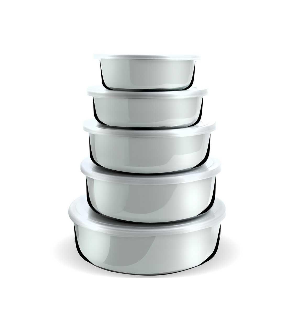 Conjunto de Potes 5 Peças Aço Inox Com Tampa Plástica 12,14,16, 18 e 20 cm Gourmet Mix GX0267