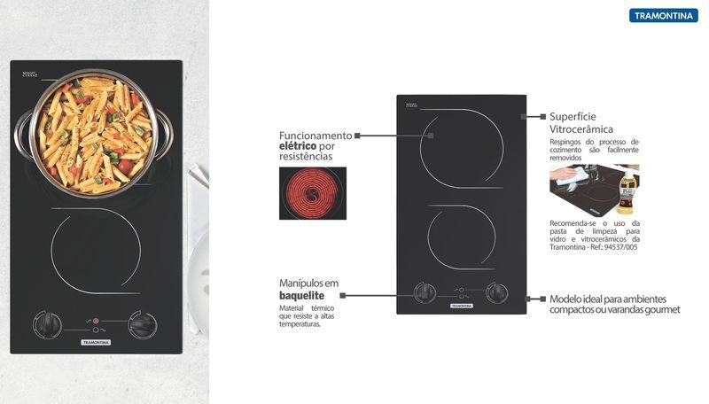 Cooktop Vitrocerâmico Elétrico Tramontina Perfecta Por Resistência Com 2 Áreas de Aquecimento 2EV 30 220V 94749/220