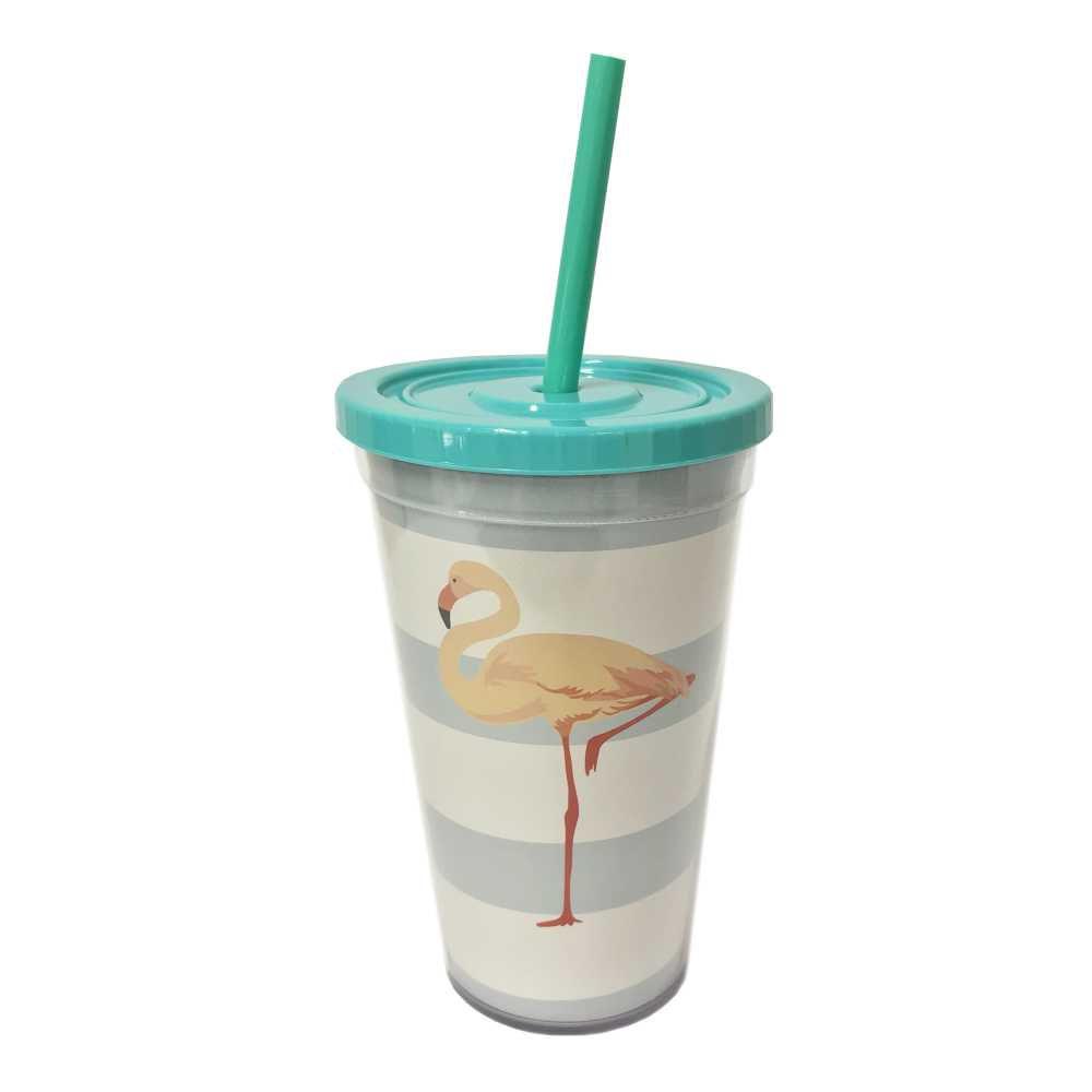 Copo Flamingo 500 ml Com Tampa em Rosca e Canudo CC0055