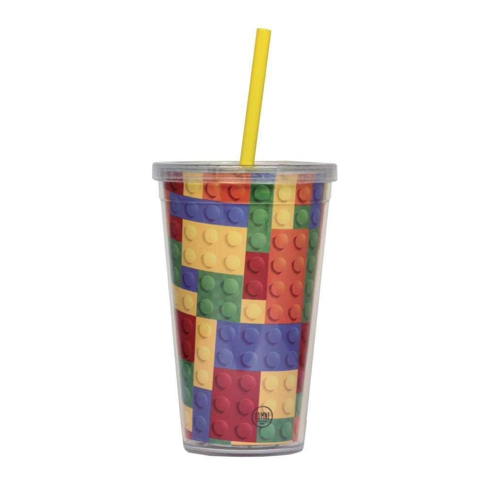 Copo Lego Blocos de Montar 500 ml Com Tampa em Rosca e Canudo CC0013