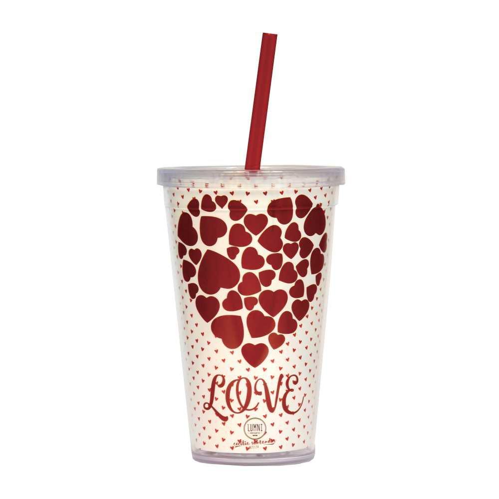 Copo Love 500 ml Com Tampa em Rosca e Canudo CC0009