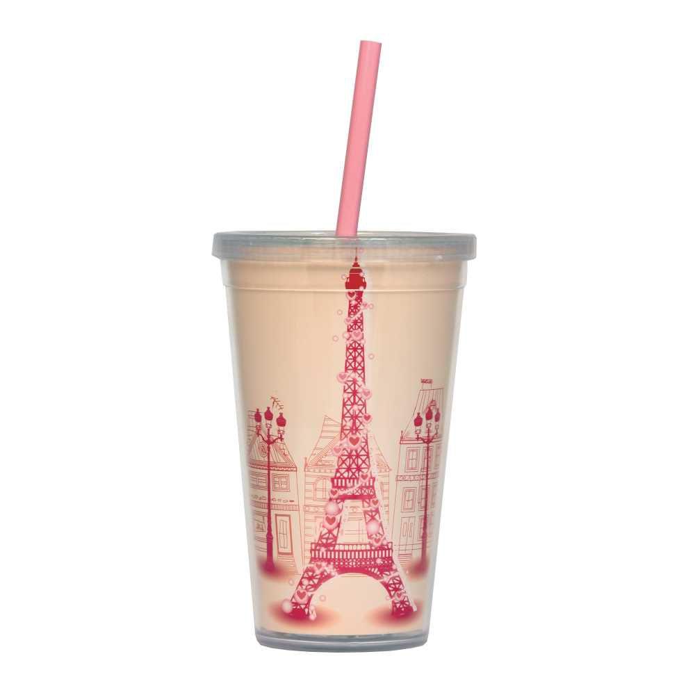 Copo Paris Rosa 500 ml Com Tampa em Rosca e Canudo CC0014