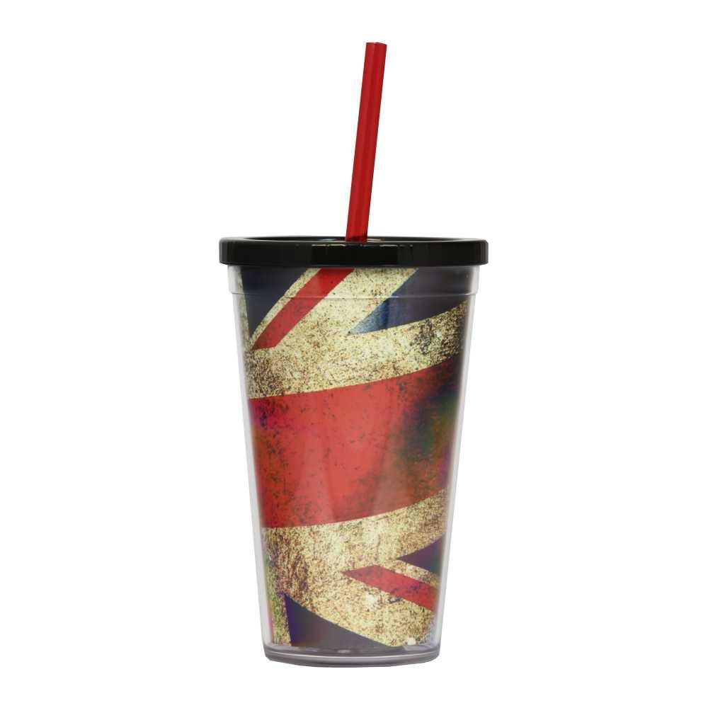 Copo Reino Unido 500 ml Com Tampa em Rosca e Canudo CC0012