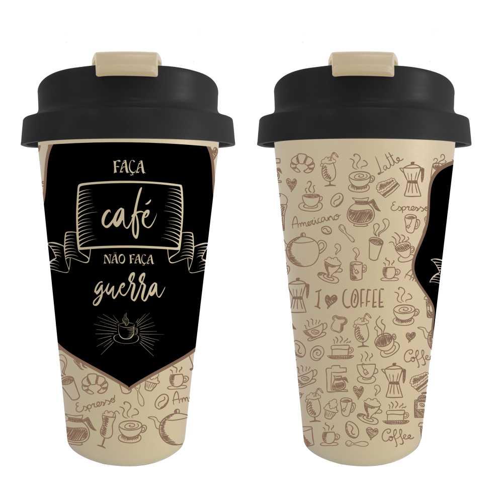 Copo Térmico Faça Café Não Faça Guerra 500 ml Com Flag Abre e Fecha Fácil CS0001