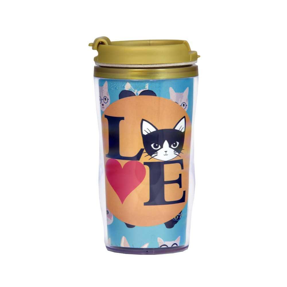 Copo Térmico Love Pet Gato 200 ml Com Flag Abre e Fecha Fácil CT1051