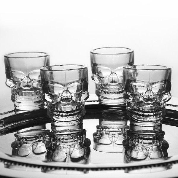 Copos de Vidro Para Shot Caveira 35 ml Cada 4 Peças