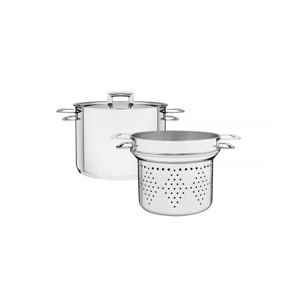 Cozi-Pasta Espagueteira Aço Inox Fundo Triplo Com Tampa Tramontina Brava 20 cm 4,6 Litros 65400/410