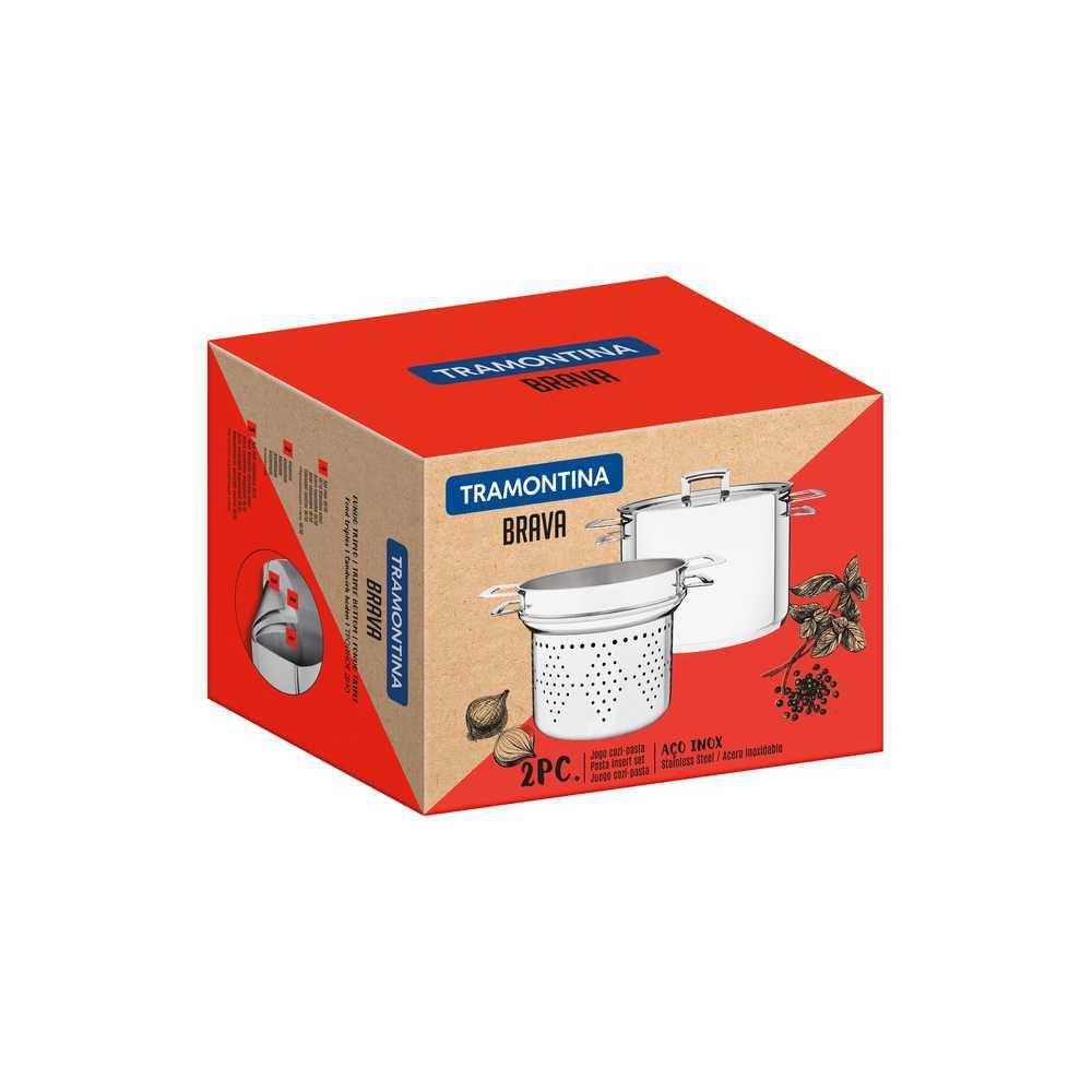 COZI-PASTA Espagueteira ACO INOX Fundo Triplo com Tampa Tramontina Brava 20 CM 4,6 Litros 65400/410