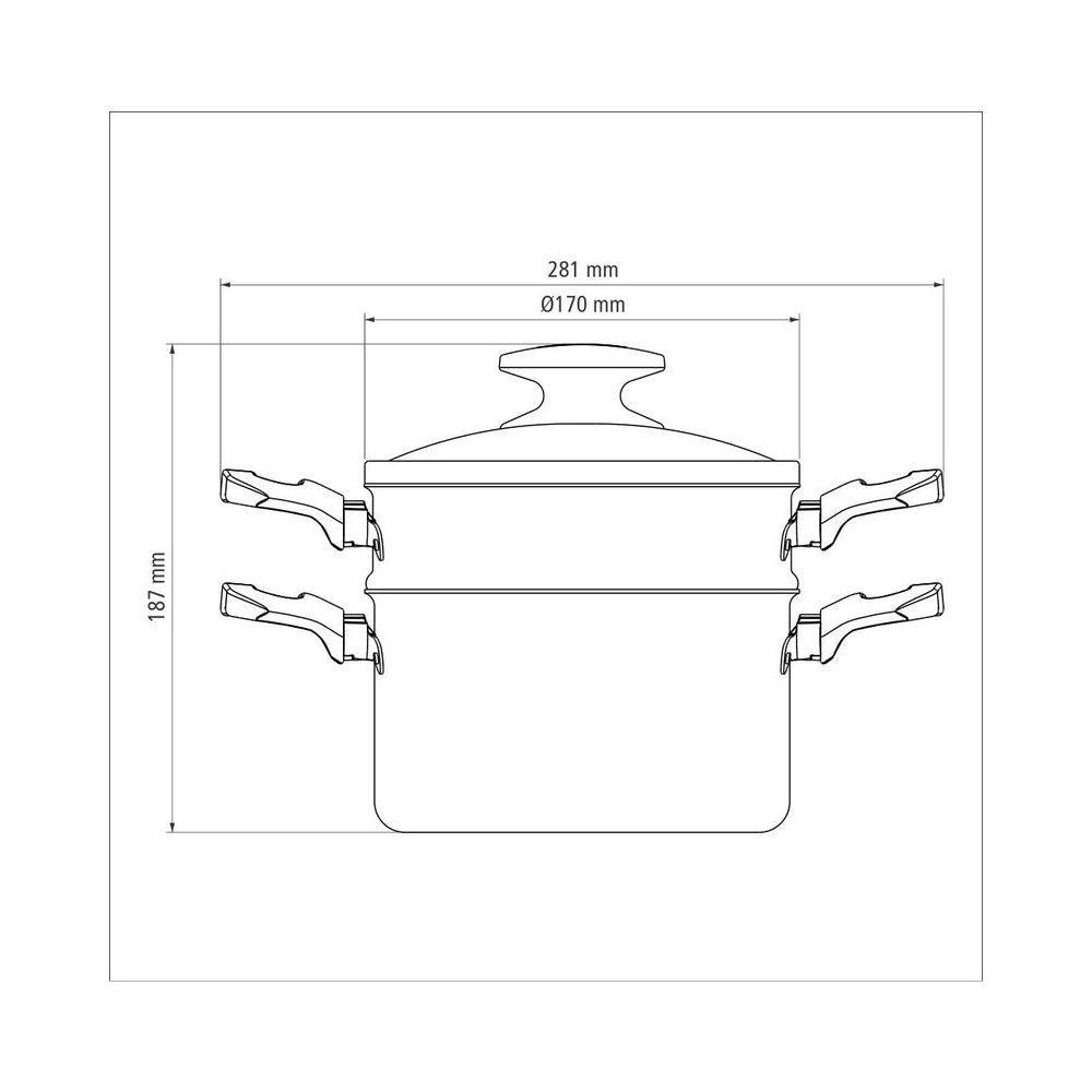 Cozi-Vapore / Cuscuzeira em Alumínio Antiaderente Com Tampa de Vidro Tramontina Loreto 16 cm Vermelha 20393/716