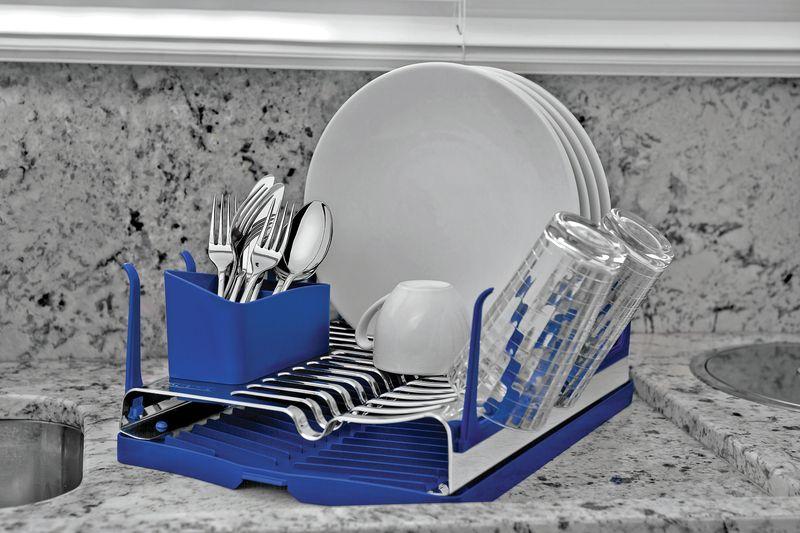 Escorredor de Louças em Aço Inox Com Bandeja Coletora Tramontina Plurale Azul 61535040