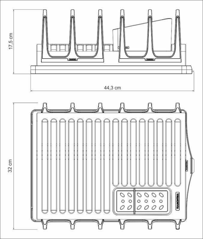 Escorredor de Louças em Aço Inox Com Bandeja Coletora Tramontina Plurale Grafite 61535/030