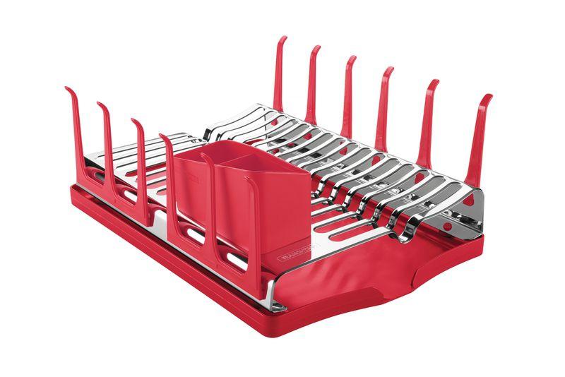 Escorredor de Louças em Aço Inox Com Bandeja Coletora Tramontina Plurale Vermelha 61535/060