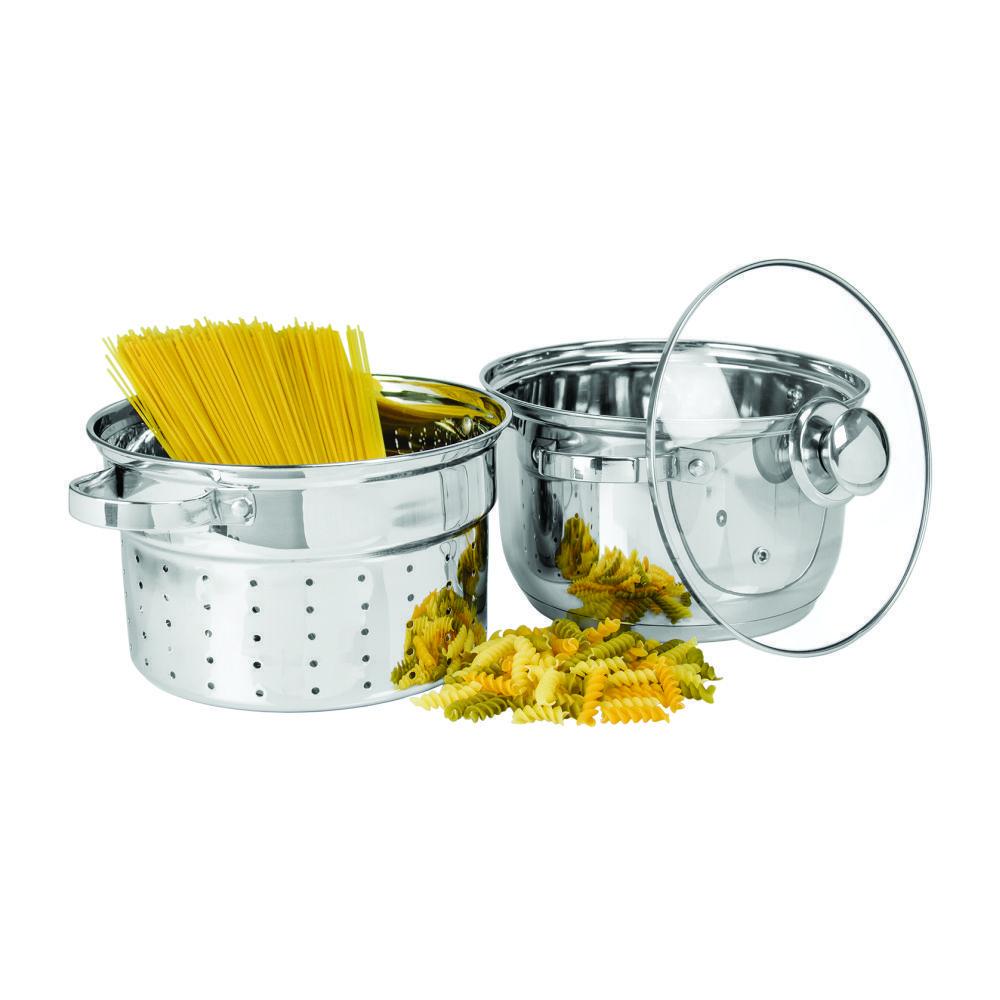 Espagueteira ACO INOX 22 CM 4 Litros 3 Pecas Gourmet MIX GX8268
