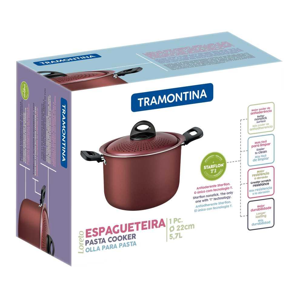 Espagueteira Tramontina Loreto 22 cm 5,7 Litros Vermelha 27817/025
