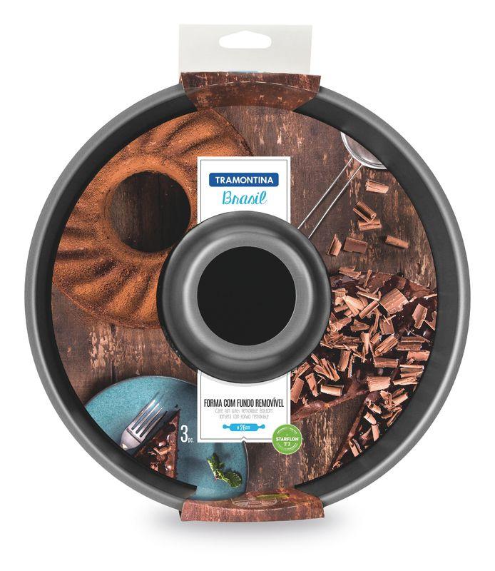 Forma Com Fundo Removível de Alumínio Antiaderente Tramontina Brasil 26 cm Grafite 20066/026