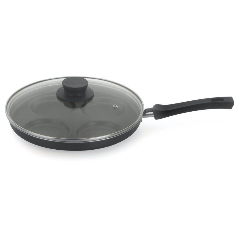 Frigideira 4 Ovos Antiaderente 26 cm Alumínio Com Tampa Multiflon Gourmet 55244
