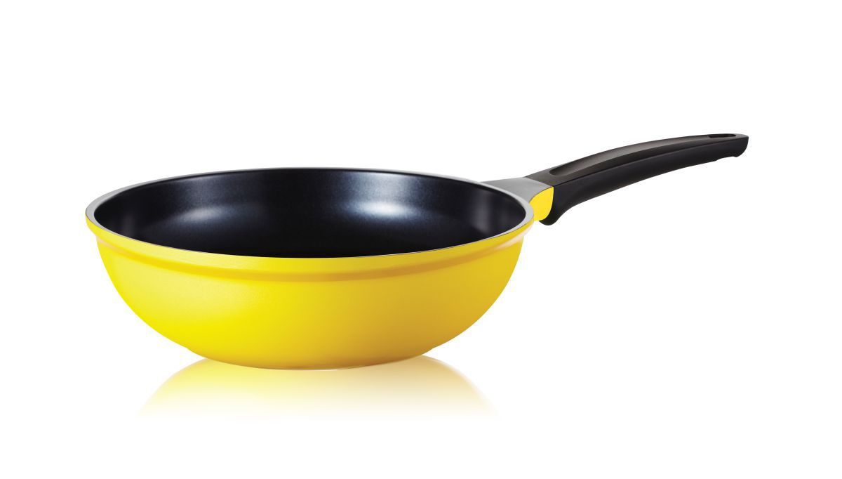 Frigideira Wok Antiaderente Com Revestimento Cerâmico Roichen Natural Frying Pan 26 cm 3,0 Litros Amarela RNC-26W/YB