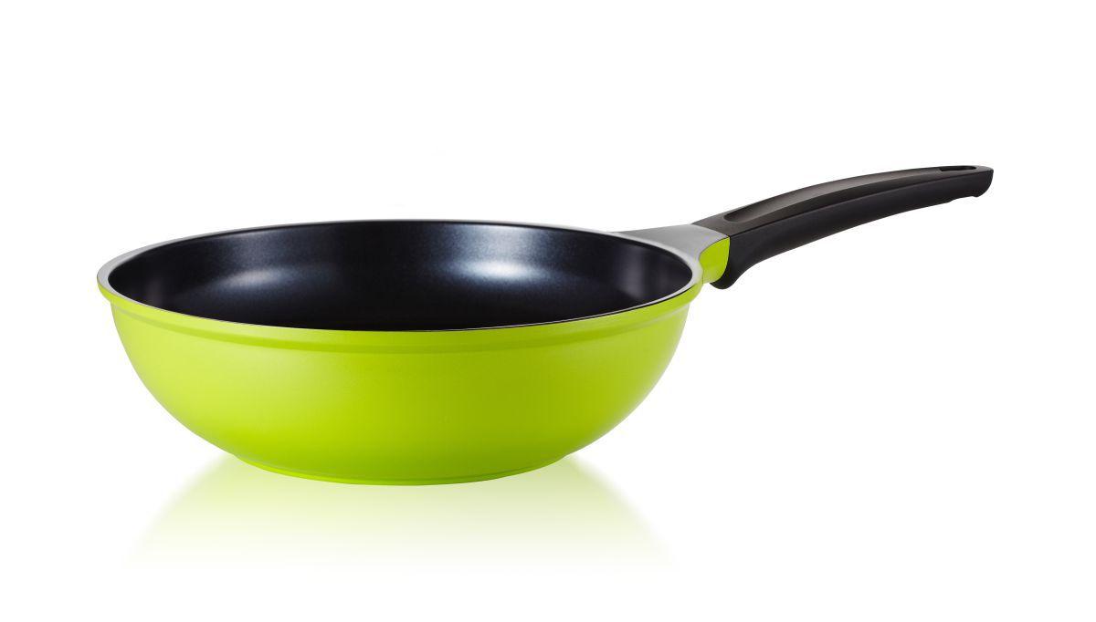Frigideira Wok Antiaderente Com Revestimento Cerâmico Roichen Natural Frying Pan 28 cm 3,7 Litros Verde RNC-28W/GB