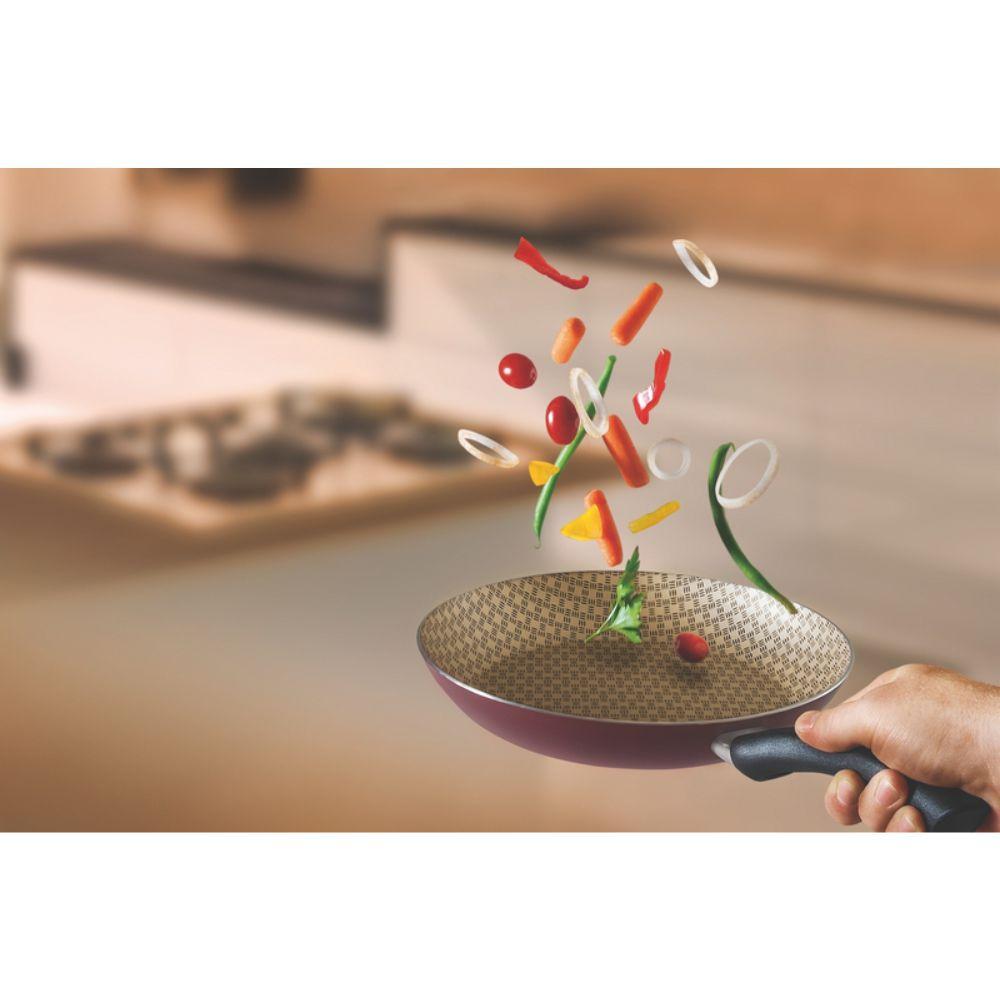 Jogo de Frigideiras Em Alumínio Antiaderente 3 Peças Tramontina Paris 18 e 22 cm Vermelha 20199/738