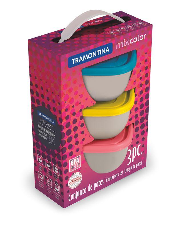 Jogo de Potes Bowls 600ml 3 Peças Tramontina Mix Color 25099/948