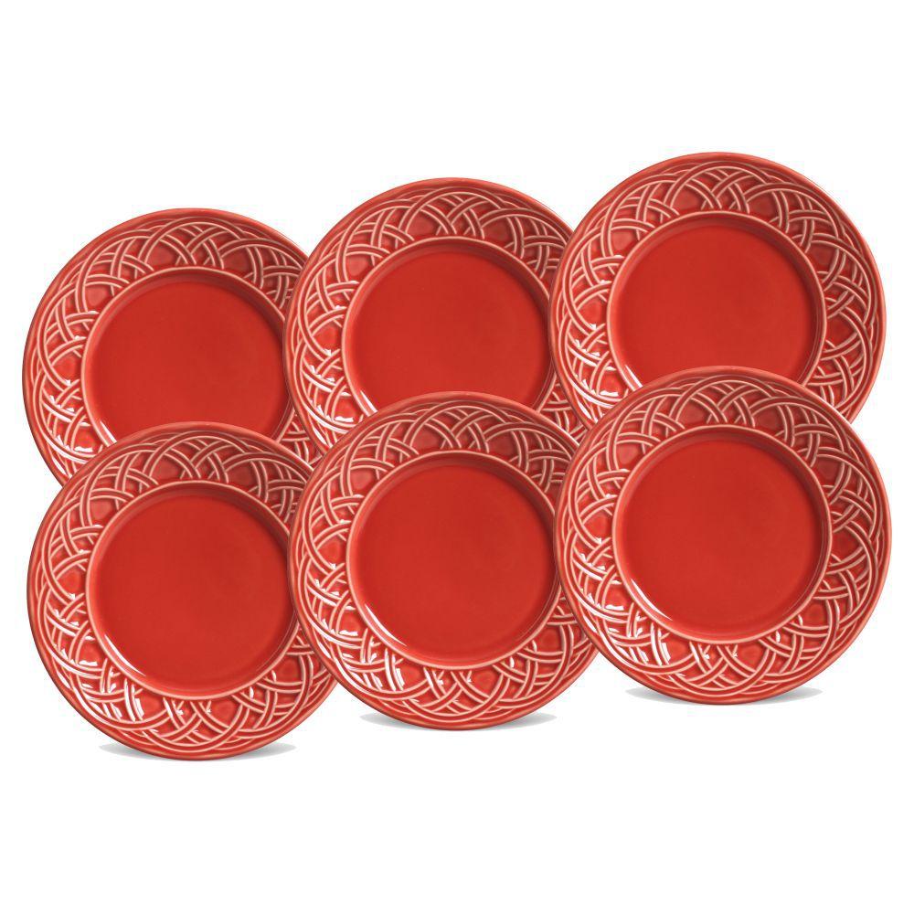 Jogo de Pratos de Sobremesa Porto Brasil Cestino 6 Peças Vermelho 14241601