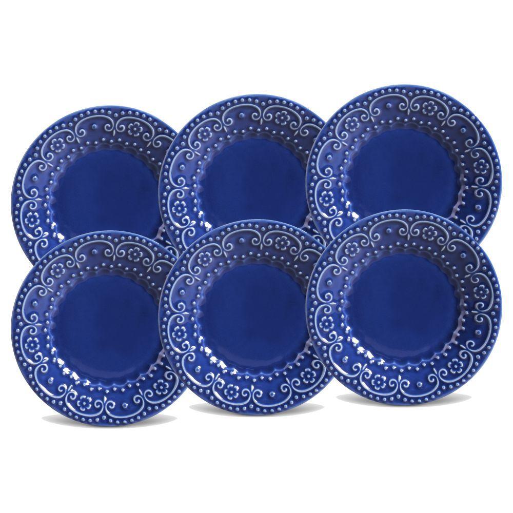 Jogo de Pratos de Sobremesa Porto Brasil Esparta 6 Peças Azul Navy 323584
