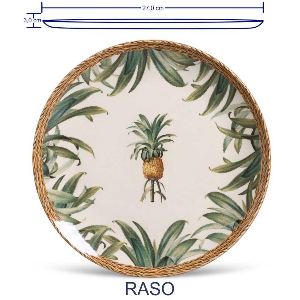 Jogo de Pratos Porto Brasil Raso Fundo Sobremesa Pineapple 3 Pecas