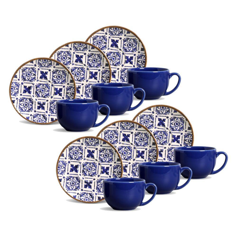 Jogo de Xícaras de Chá 161 ml Porto Brasil Asteca 6 Peças 521096
