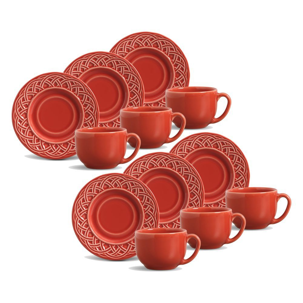 Jogo de Xícaras de Chá 161 ml Porto Brasil Cestino 6 Peças Vermelho 36241601