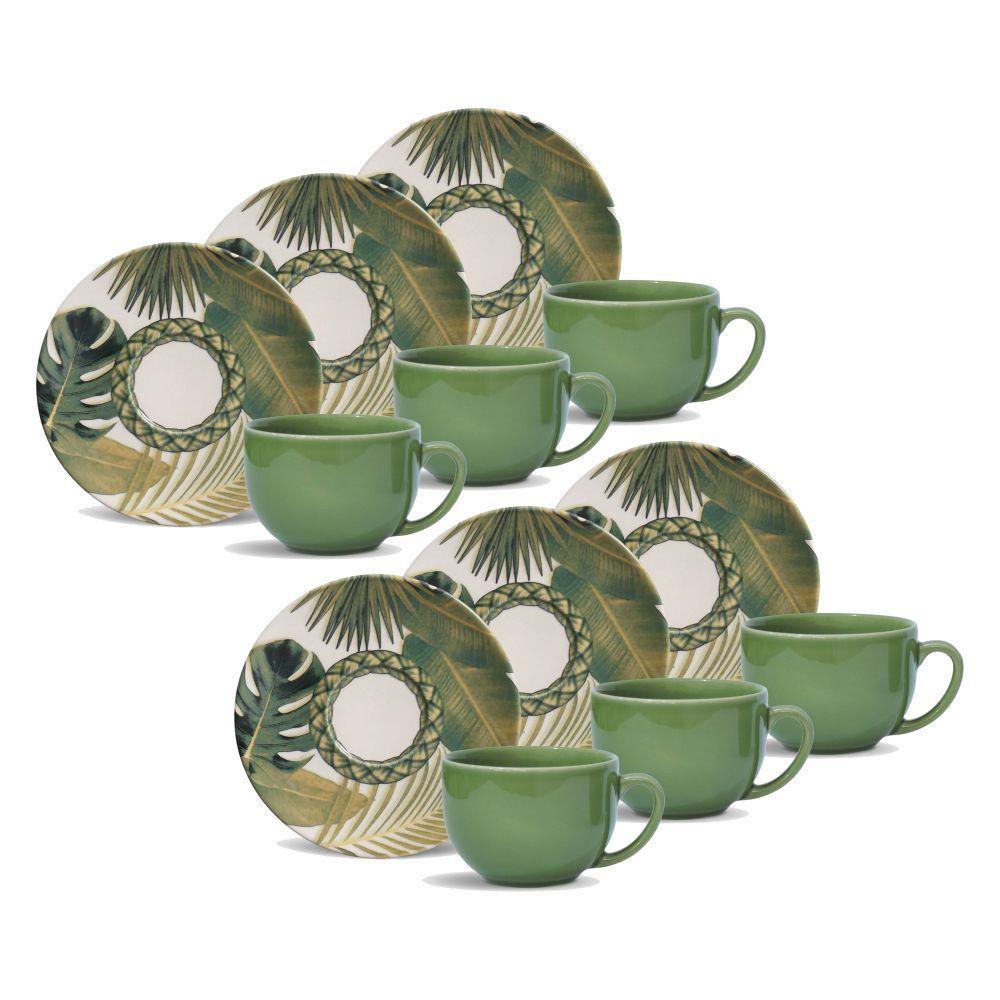 Jogo de Xícaras de Chá 198 ml Porto Brasil Foliage 6 Peças 539096